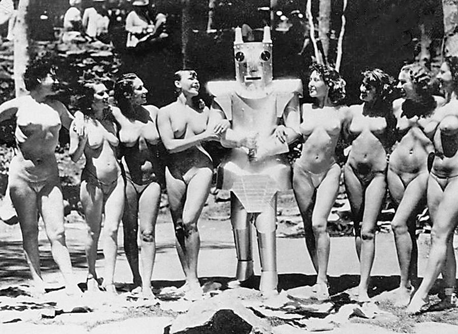 Robot woman dancing